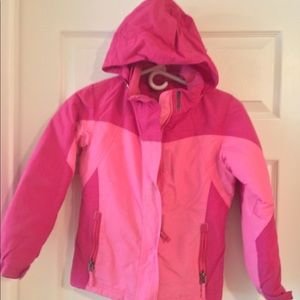 Girls LLBean winter fleece lined coat with hood.